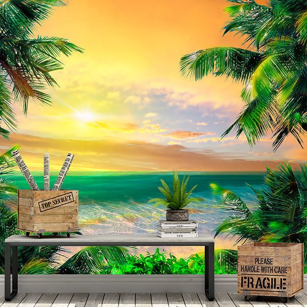 Wall Murals: Sunset at the Caribbean Treasury