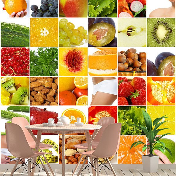 Wall Murals: Collage of fruits and food 0