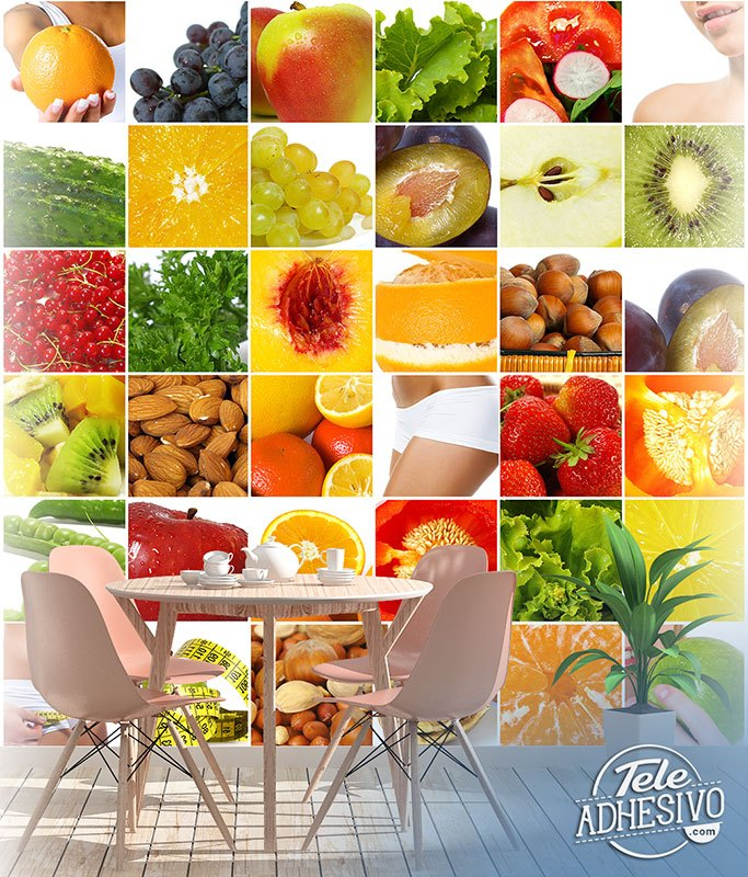 Wall Murals: Collage of fruits and food