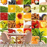 Wall Murals: Collage of fruits and food 2