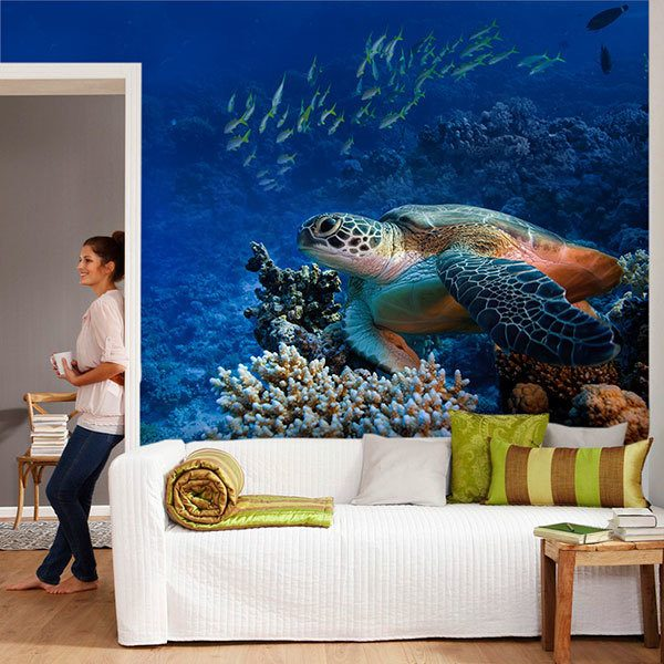 Wall Murals: Green turtle under the sea