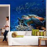Wall Murals: Green turtle under the sea 2