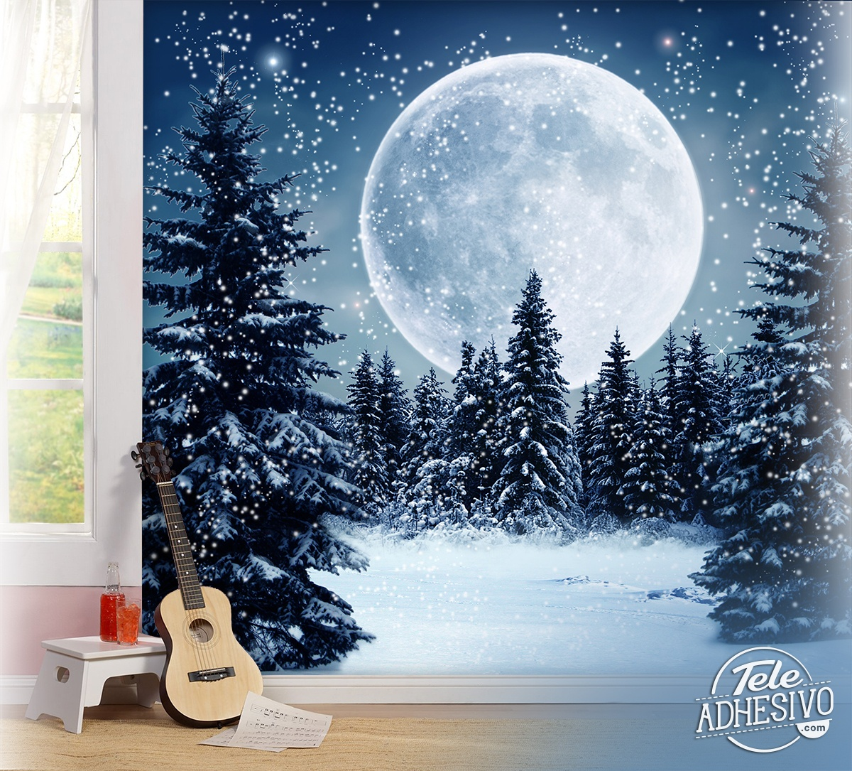 Wall Murals: Moon over snowy forest