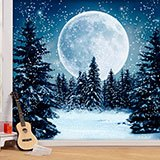 Wall Murals: Moon over snowy forest 2