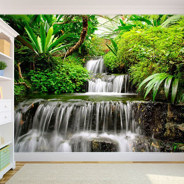 Wall Murals: Waterfalls in the tropical garden