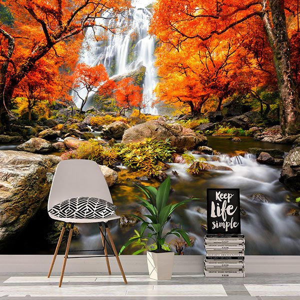Wall Murals: Waterfall in autumn 0