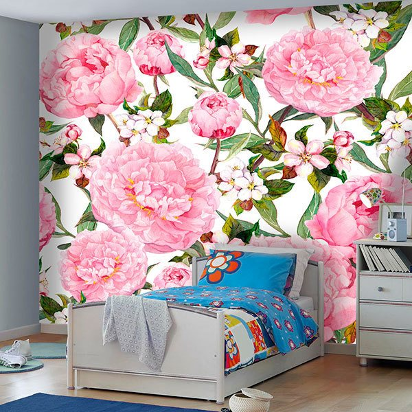 Wall Murals: Watercolour peonies 0