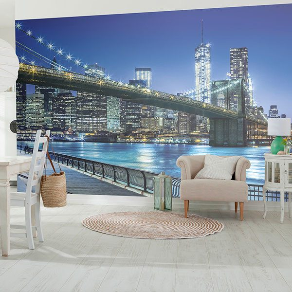 Wall Murals: Blue Night in Manhattan