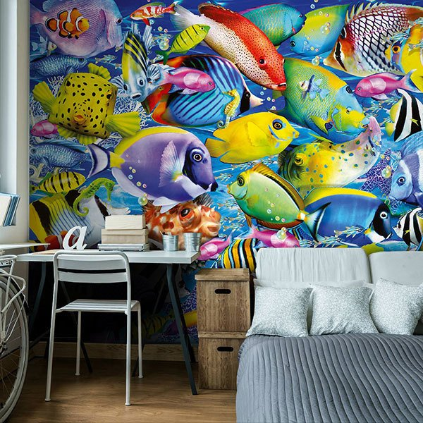 Wall Murals: Colored fish collection 0