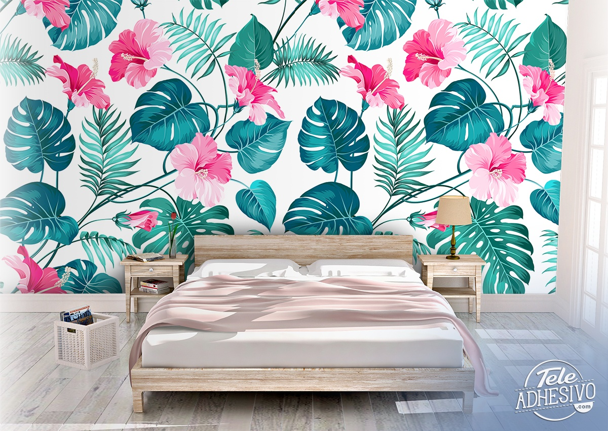Wall Murals: Printed of flowers and leaves