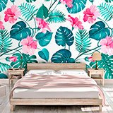 Wall Murals: Printed of flowers and leaves 2