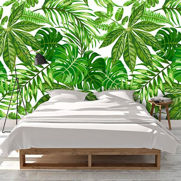 Wall Murals: Printed of green leaves