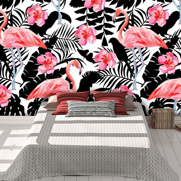 Wall Murals: Printed of Flamingos and flowers 0