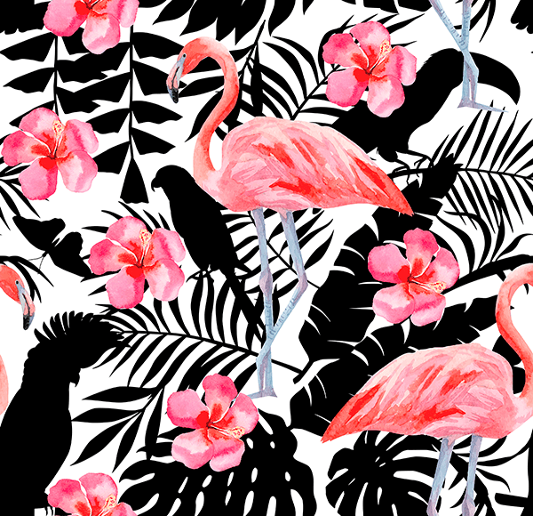 Wall Murals: Printed of Flamingos and flowers