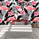 Wall Murals: Printed of Flamingos and flowers 2