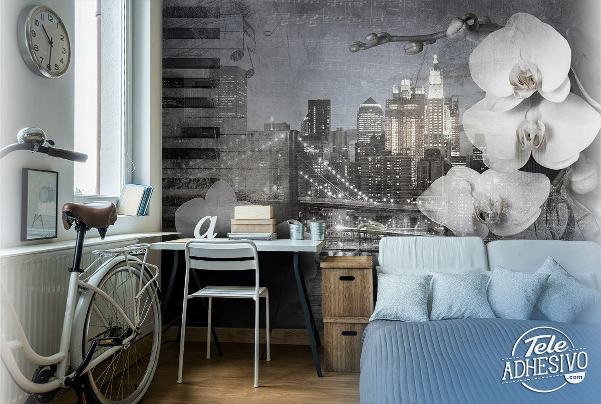 Wall Murals: Collage Orchids in New York