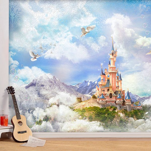 Wall Murals: Disney Castle between fog and mountains