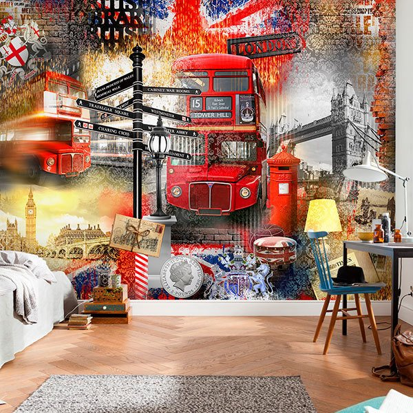 Wall Murals: Collage London tourist 0