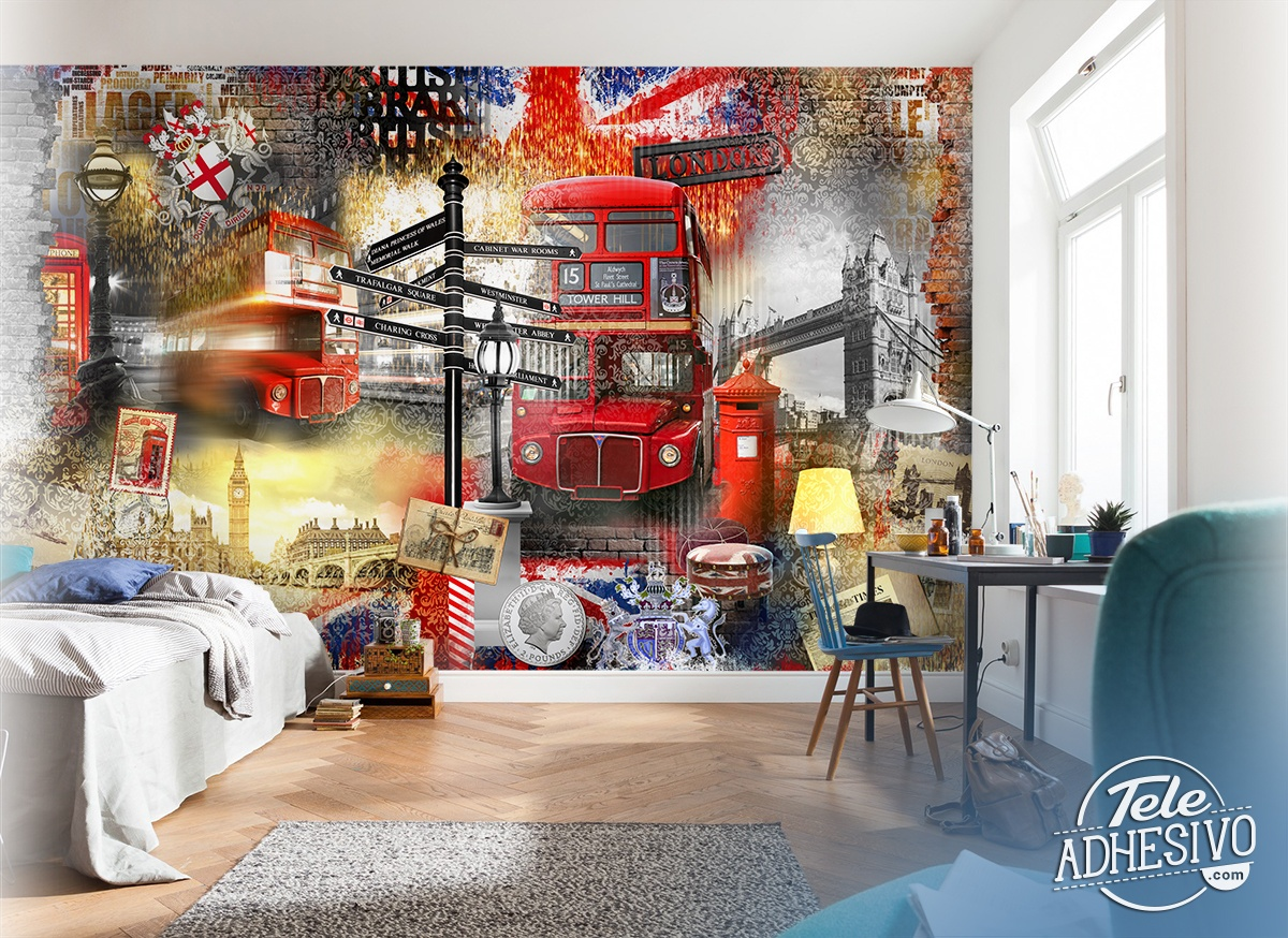 Wall Murals: Collage London tourist