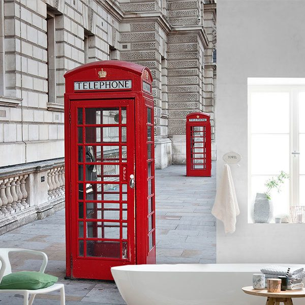 Wall Murals: Red telephone booth 0