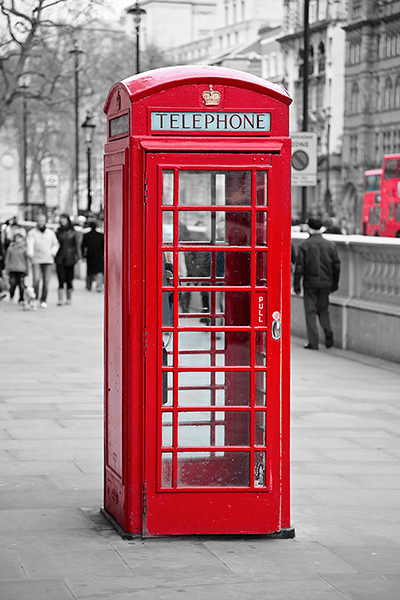 Wall Murals: Telephone booth in Oxford Street