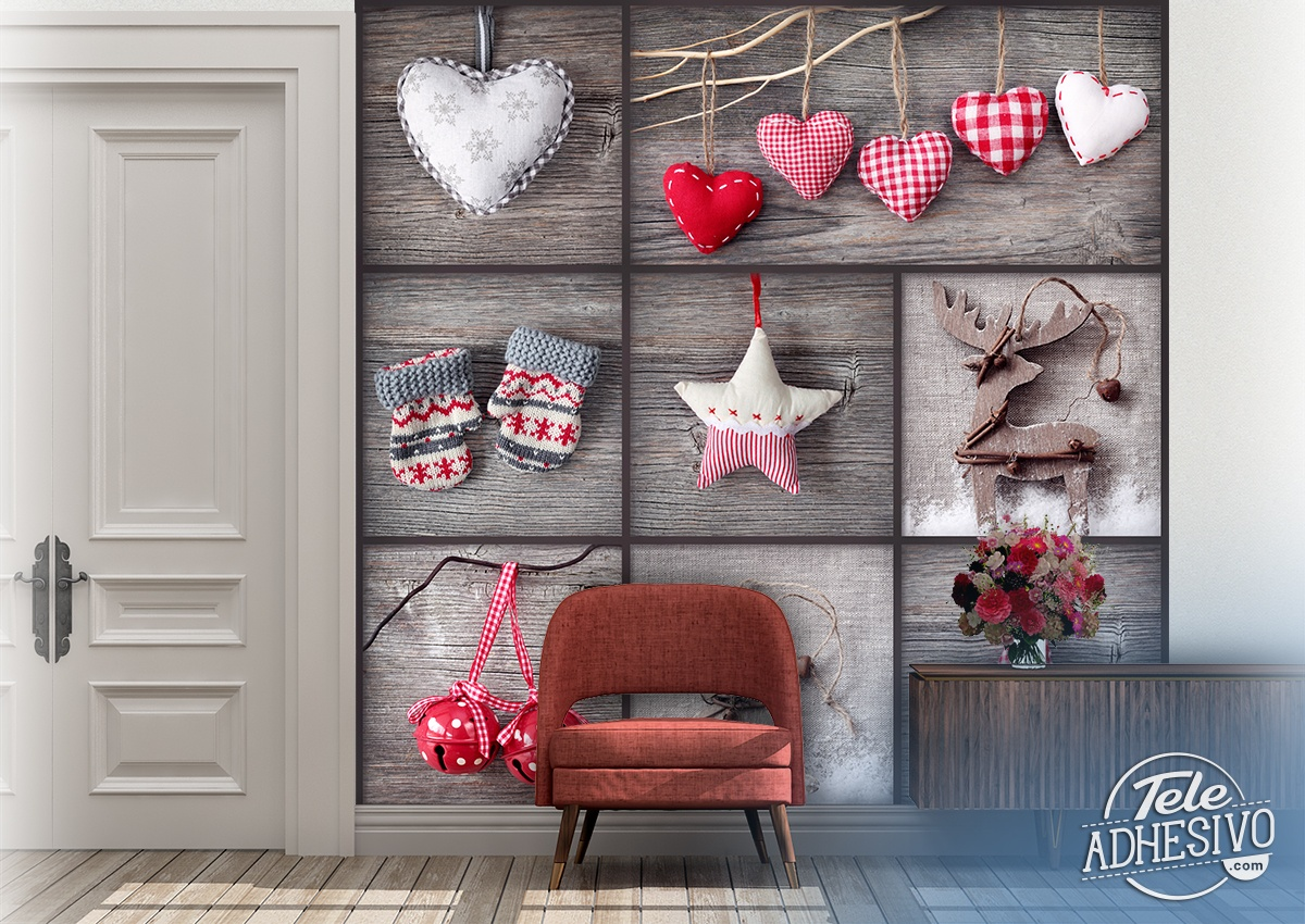 Wall Murals: Collage Christmas Decoration
