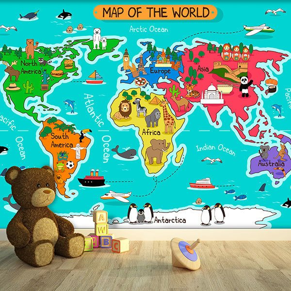 Wall Murals: Kid's World Map