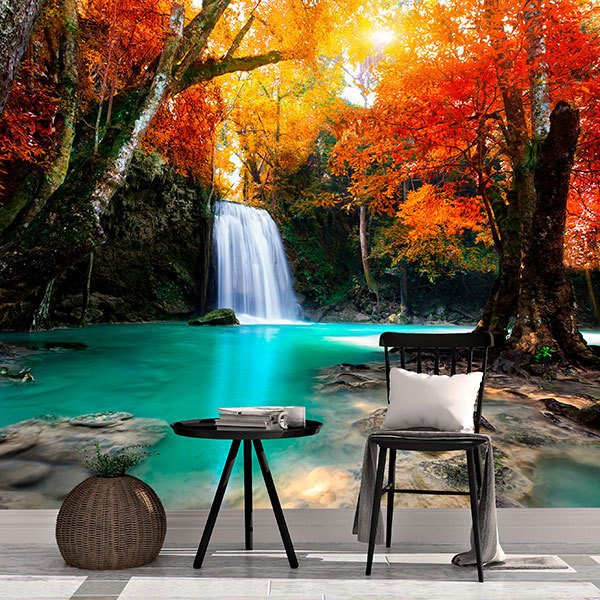 Wall Murals: Deep waterfall in autumn