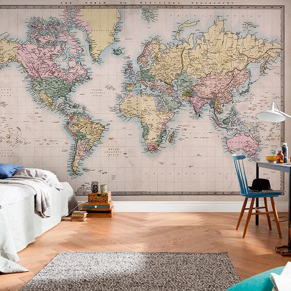 Wall Murals: Rustic world map