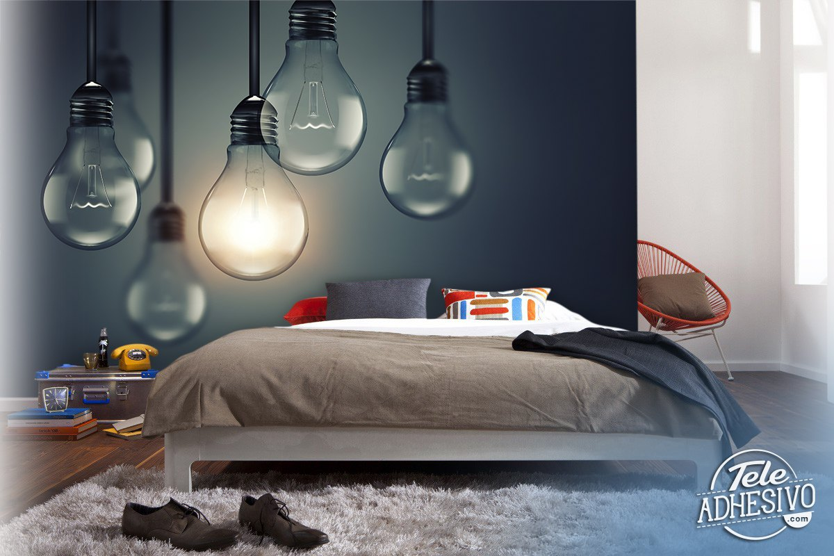 Wall Murals: Hanging light bulbs