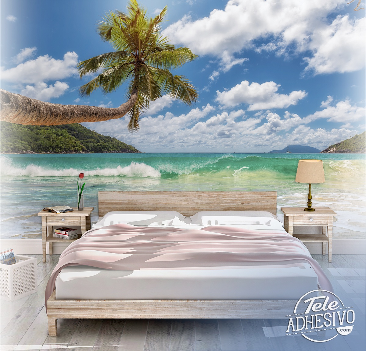 Wall Murals: Palm tree by the sea