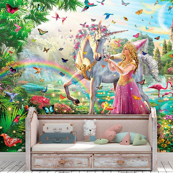 Wall Murals: Princess and unicorn in a magical garden 0