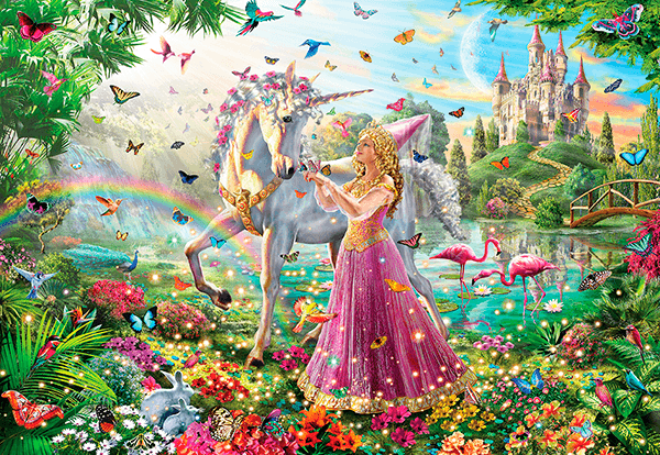 Wall Murals: Princess and unicorn in a magical garden