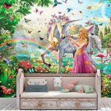 Wall Murals: Princess and unicorn in a magical garden 2
