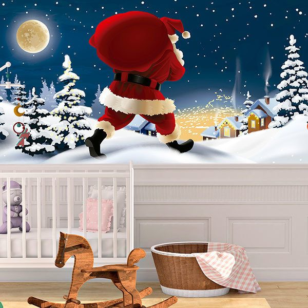 Wall Murals: Santa Claus distributes gifts