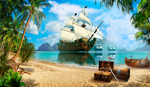 Wall Murals: Pirate ship in search of treasure
