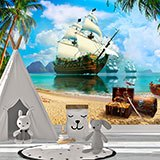 Wall Murals: Pirate ship in search of treasure 2