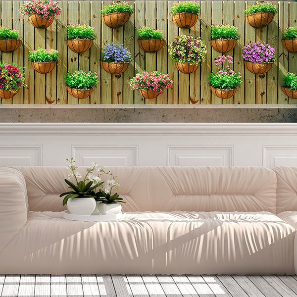 Wall Murals: Wall with flowerpots