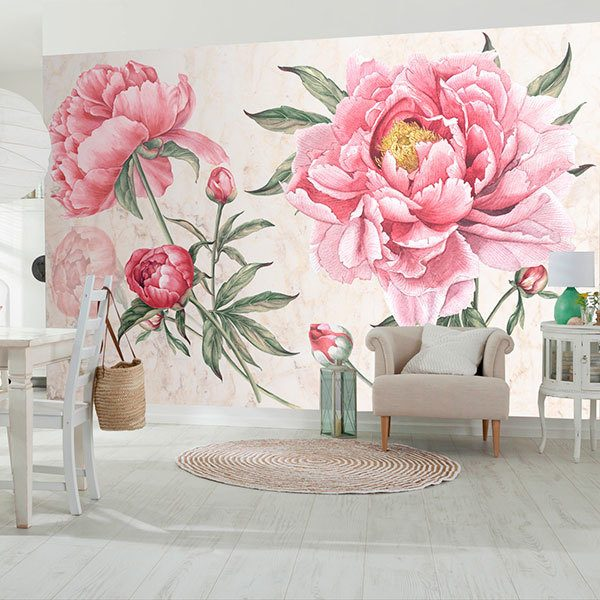 Wall Murals: Peony, the flower of the bride 0