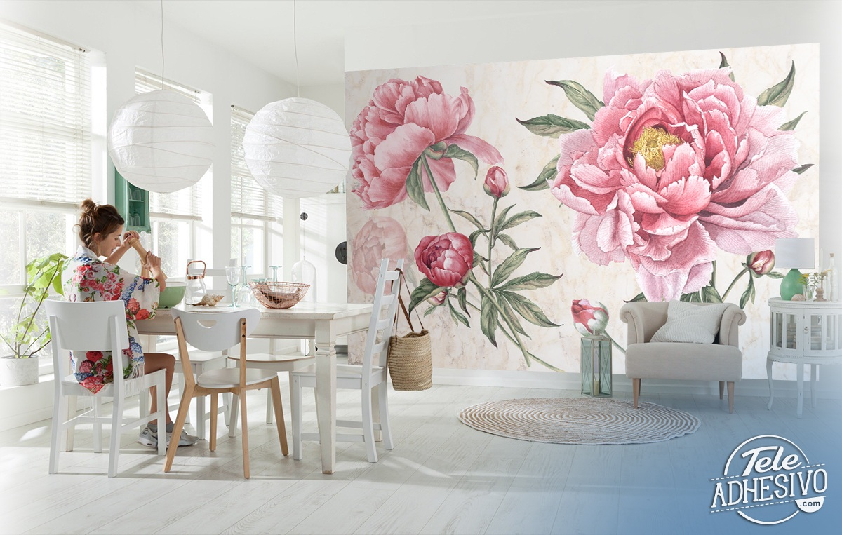 Wall Murals: Peony, the flower of the bride