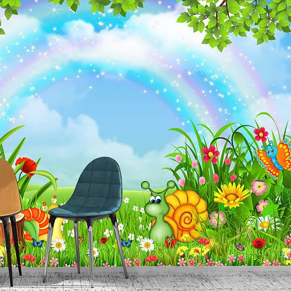 Wall Murals: Animals under the rainbow