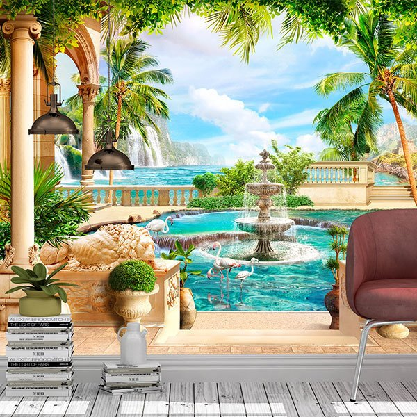 Wall Murals: Courtyard of columns in paradise