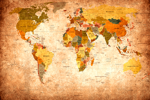Wall Murals: Didactic world map