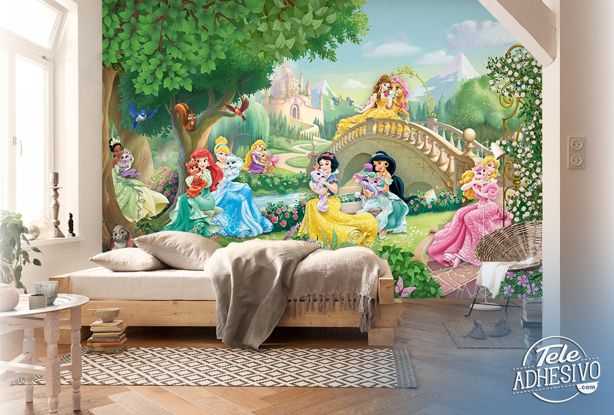 Wall Murals: Disney Princesses with Pets