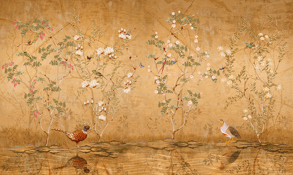 Wall Murals: Partridges drinking