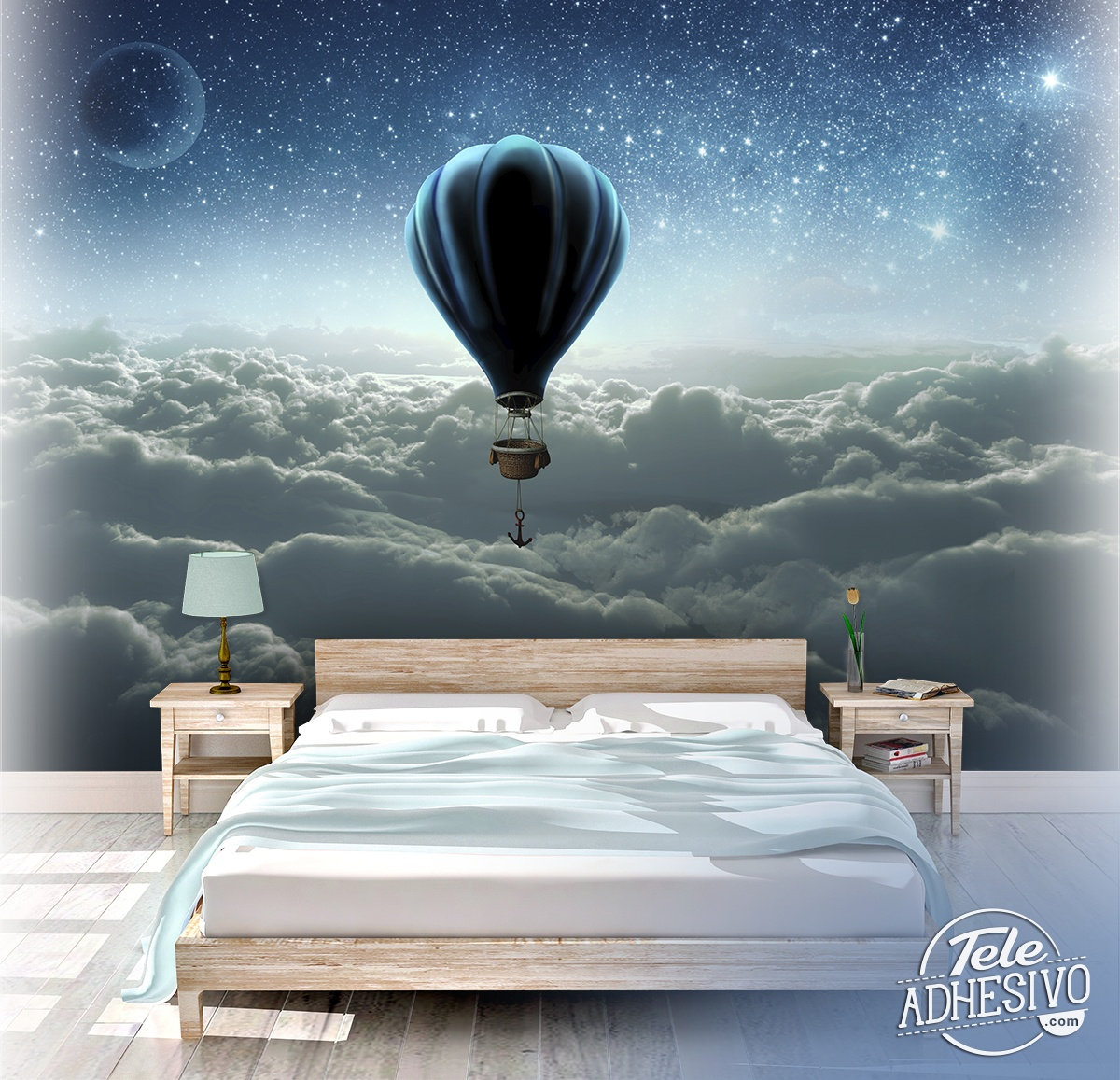 Wall Murals: Sunrise hot air balloon