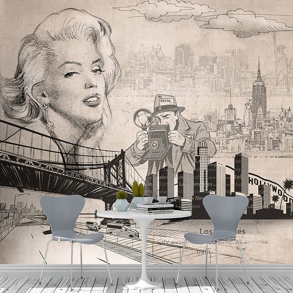 Wall Murals: American cinema collage