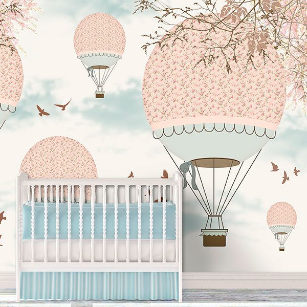 Wall Murals: Pink balloons in the sky 0