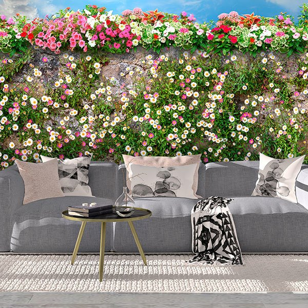 Wall Murals: Wall with flowers