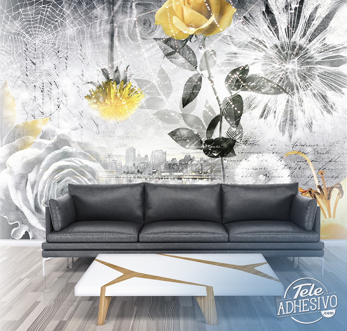 Wall Murals: Collage floral city